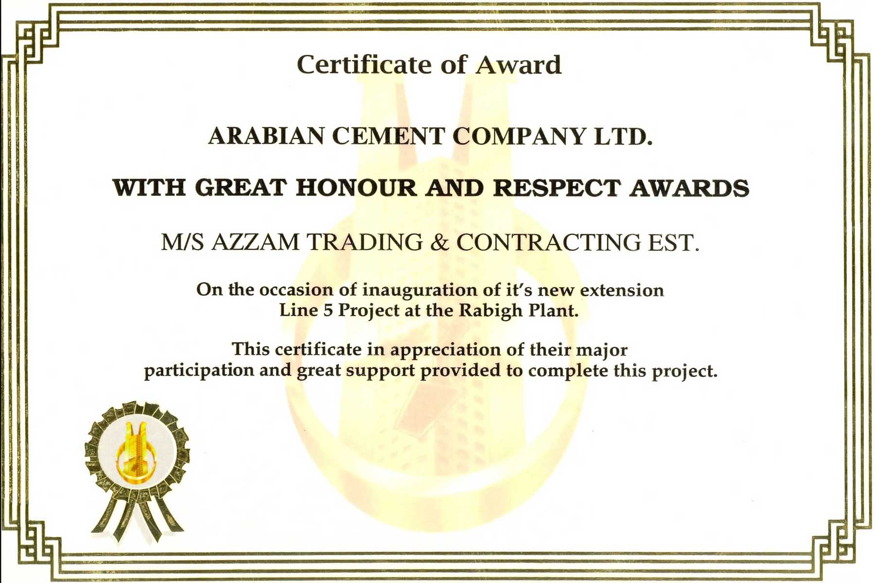 certificate of awards